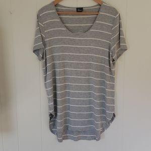 Strazzi Gray & White Stripe Short Sleeve Shirt XL